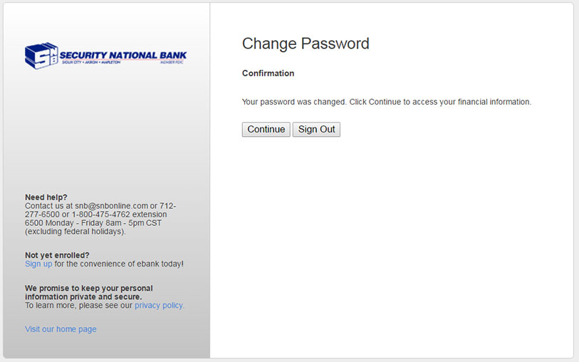 Change Password Confirmation