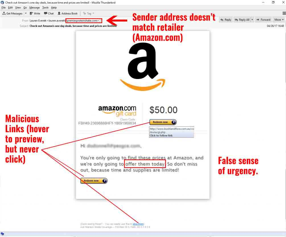Gift Card Phishing Example