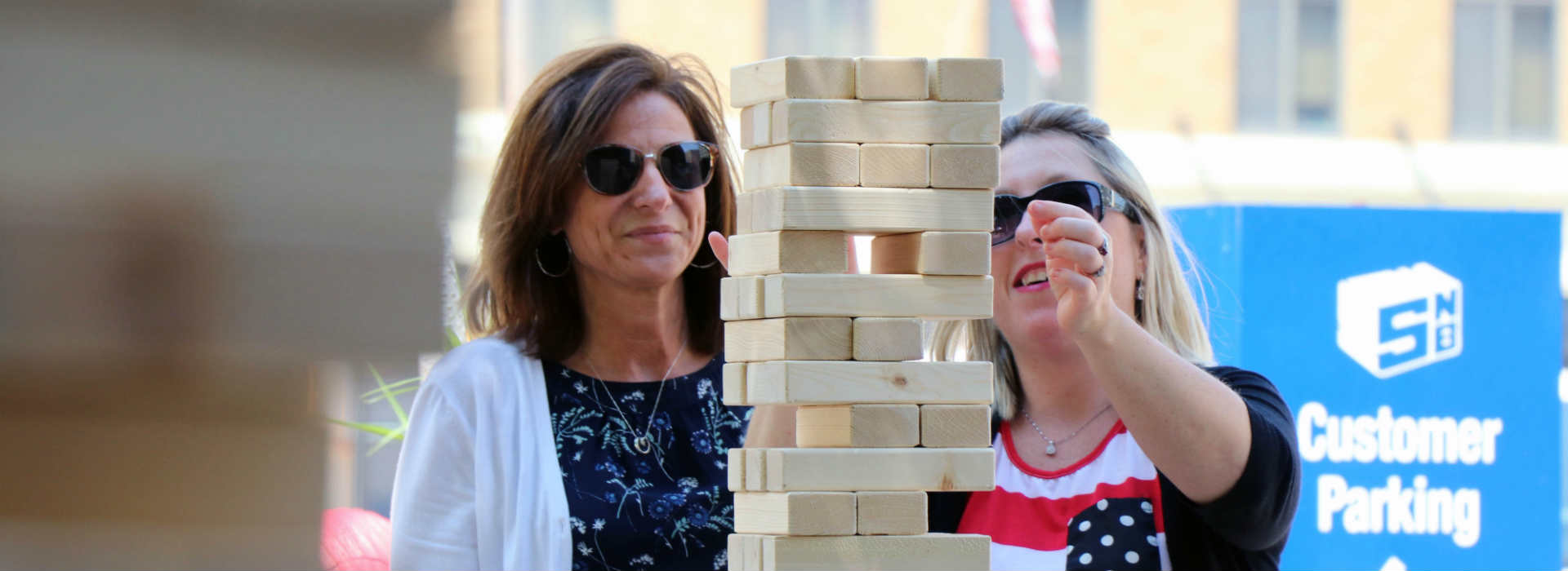 SNB Employees Playing Giant Jenga