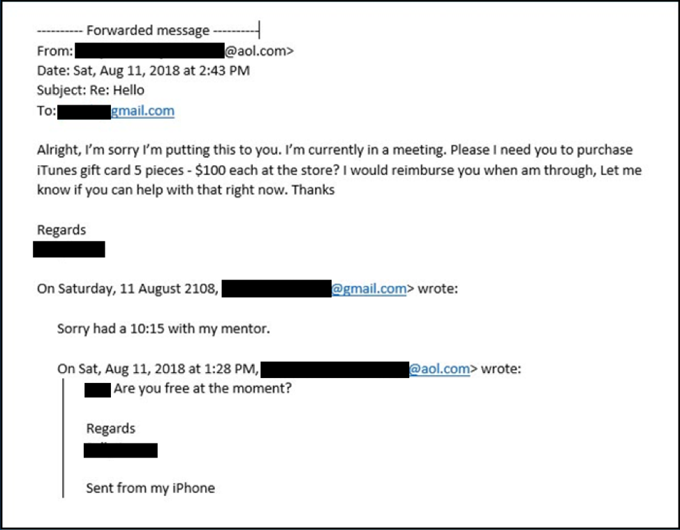 Fake Boss Scam Email Example
