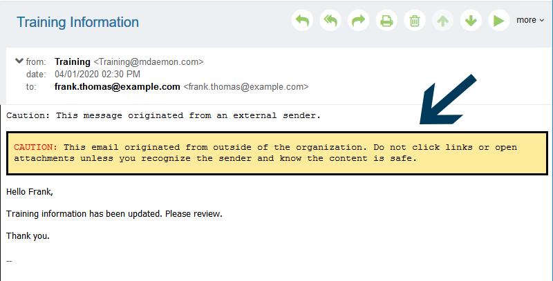 screenshot: external email warning